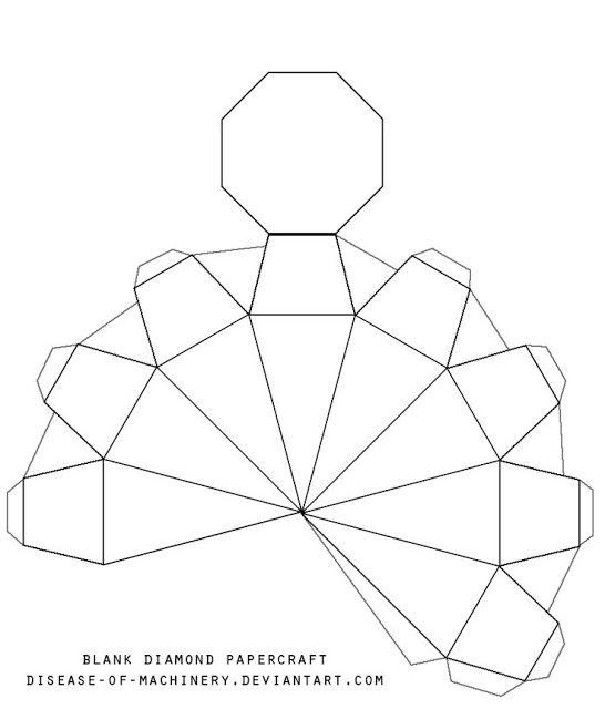 caja diamante patron papercraft