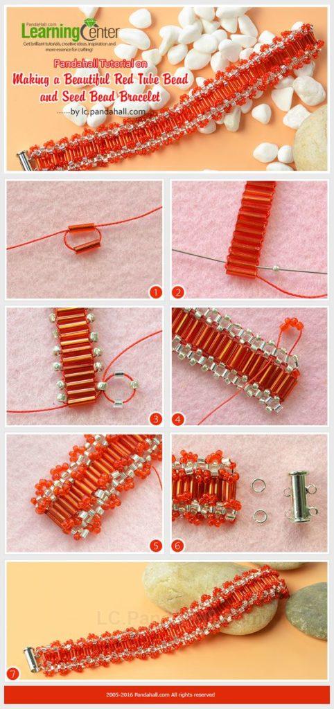 pulsera con canutillo naranja bracelet jewelry handmade