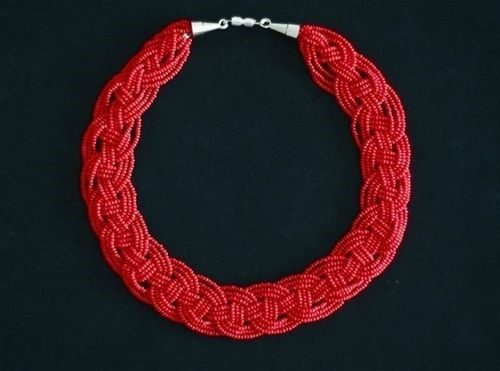 collares mostacillas beads necklaces red