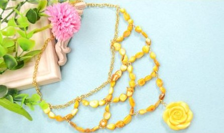 collares necklaces beads yellow amarillo jewerly bisuteria handmade paso