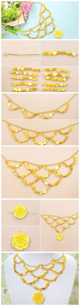 jewerly bisuteria handmade paso collares necklaces beads yellow amarillo tutorial