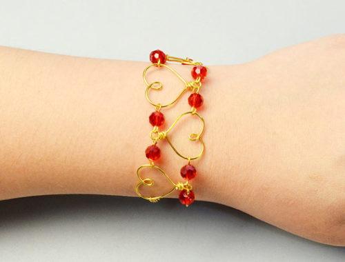 pulseras bisuteria corazones alambre bracelets wire hearts jewelry handmade DIY