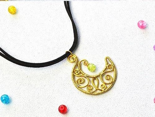 dije pendant luna moon wire bisuteria jewelry