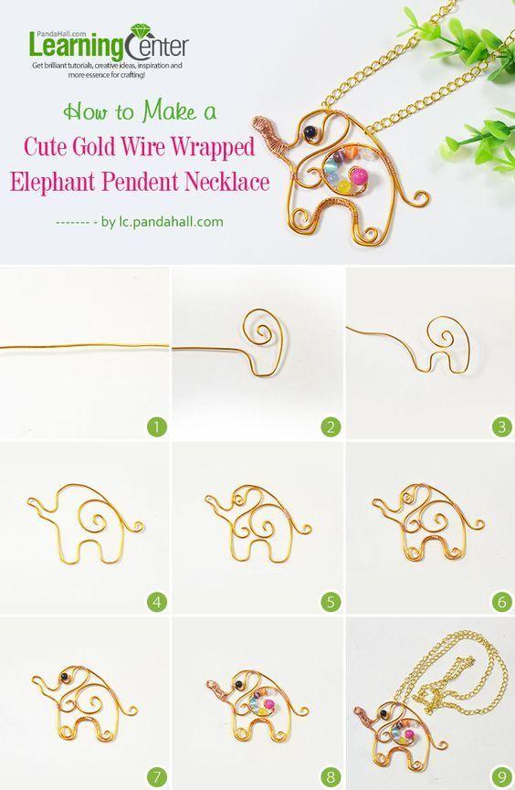 wire elephant bisuteria jewelry DIY