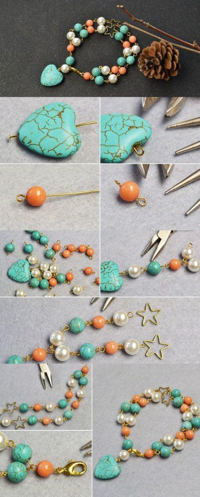 pulseras turquesa bracelets beads alambre wire azul
