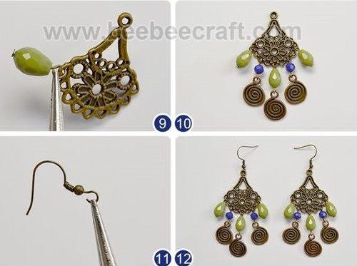 aretes zarcillos bohemio boho jewelry handmade bisuteria earrings how to make como hacer paso a paso