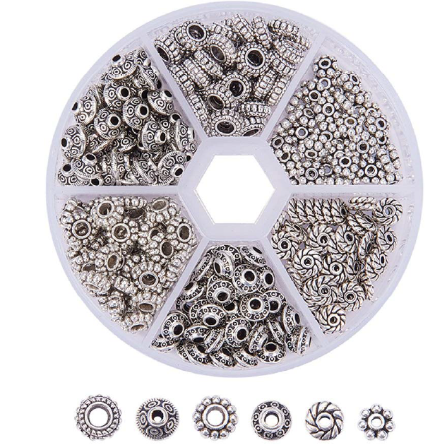300pcs 6 Style Antique Silver Spacer Beads